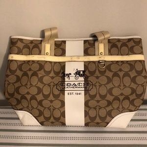Coach tote - brown and cream
